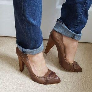 ZARA Woman 40 / 9 Cognac Brown Leather Heels